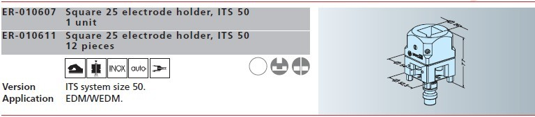ER-010607 er-010611 erowa方形25电极夹头