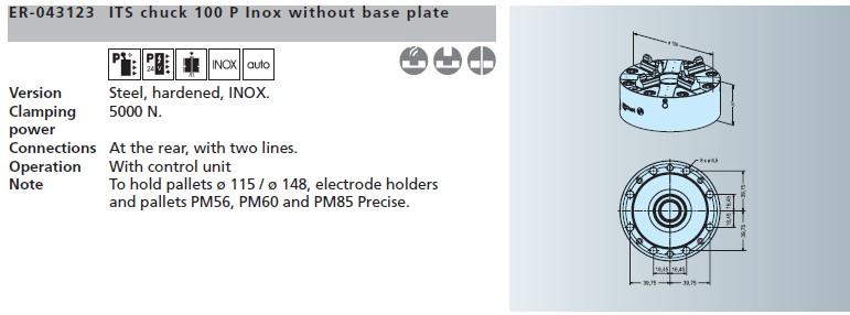 卡ER-043123 EROWA ITS卡盘100P 防锈型,不带底板盘