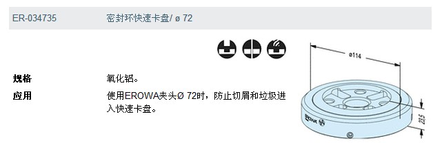 ER-034735 erowa 密封环 快速卡盘/φ72