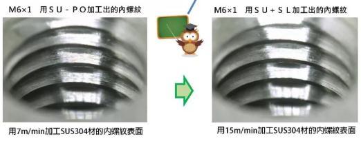 先端不锈钢丝攻SU+SL与SU-PO使用差别