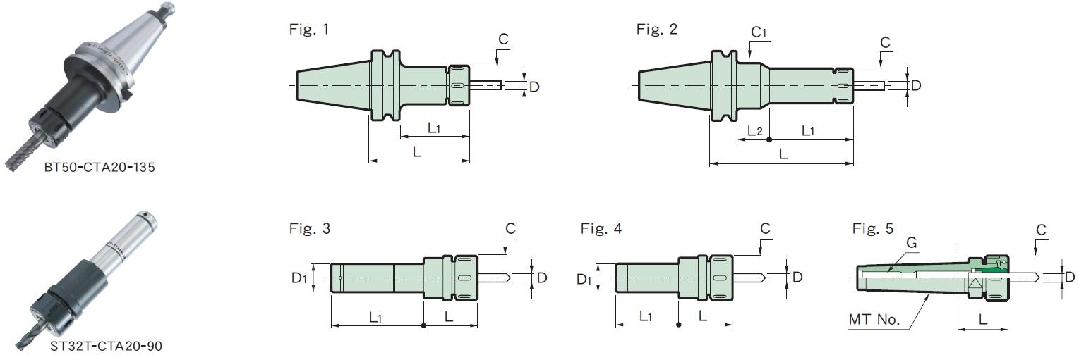 日本MST弹簧筒夹刀柄CTA型