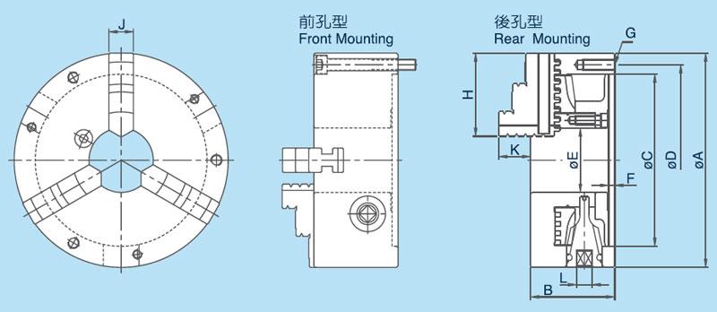 三爪卡盘规格及结构图